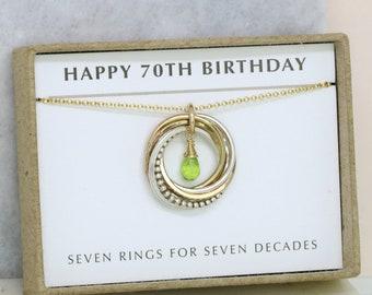 70th birthday gift, August birthstone necklace 70th, peridot necklace for 70th birthday, gift for grandmother, mom - Lilia