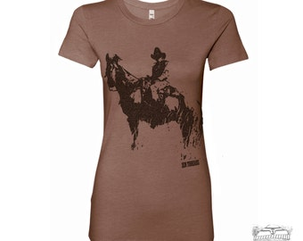 Womens COWBOY and HORSE T Shirt -hand screen printed s m l xl xxl (+ Colors Available) custom