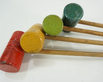 Small Wooden Game Mallets, Croquet Mallets, Child Size or Tabletop Game Mallets, Set of 4 Painted Wooden Mallets, Free Ship