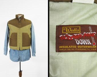 Vintage 70s Walls Blizzard Pruf Down Vest Zip Up Insulated Chevron - Men's Medium