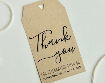 Custom wedding favor thank you tag printed on kraft paper, thank you for celebrating with us