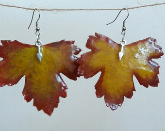 Earrings Currant Leaf, Earrings of natural currant leaf, Jewelry, Gift for Her