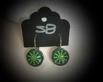 Drop earrings mandala design