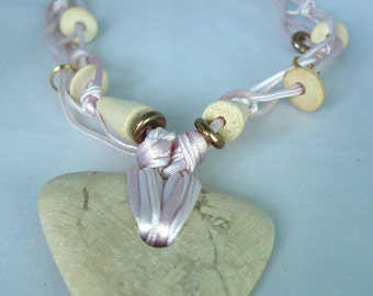Marble Cream Marble Stone Necklace - Wood, Satin, Fibre Cord - Triangle Shaped Pendant - Cone, Disc Beads - Knotted