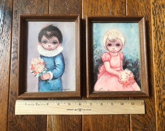 Vintage 1960s Big Eyes Sad Eyes Children Lithograph Prints - Set of 2 in wooden frames