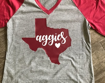 TAMU Shirt, Aggies, Maroon Raglan, Texas A and M.