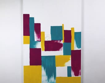 Original Abstract Painting - Blocks of Color - Modern Large Wall Art