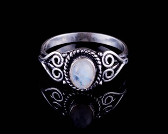 Moonstone silver ring stacking solitaire knuckle midi gemstone moon stone indian jewelry boho chic hippie stone ring BR11M