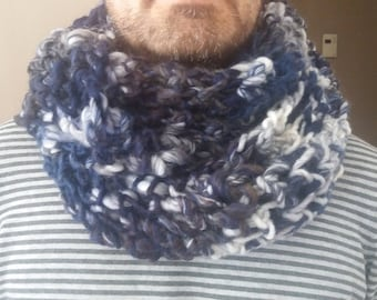 Snood 2 turns adult mixed blue/white/gray tones handmade
