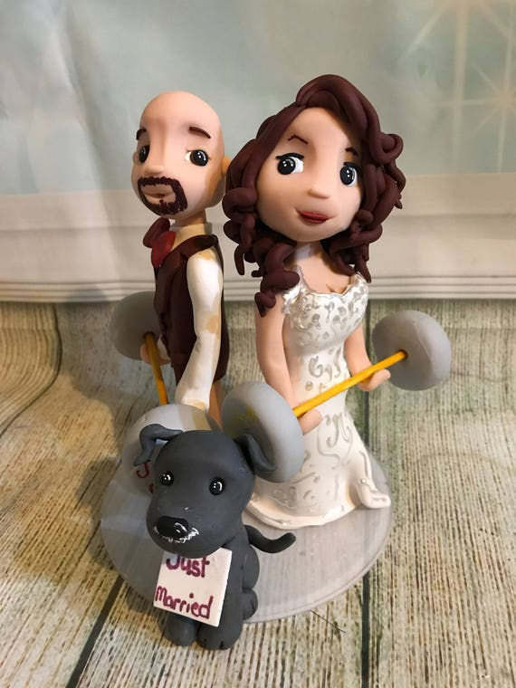 Fully personalised weightlifting/crossfit clay Wedding Cake Topper highly detailed and fully sculpted Keepsake - Bespoke Premium Service