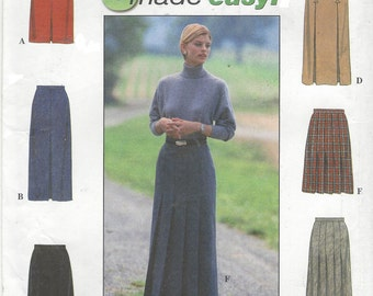 90s Womens Pleated Skirts with Pleat & Length Variations Simplicity Sewing Pattern 8428 Size 14 16 18 Hip 38 40 42 UnCut 6 Made Easy