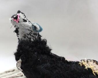 Western Multi-toned  Howling Wolf Quilty Critter -OOAK, Novelty, Folk Art, Ornament