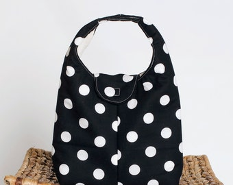Insulated Lunch Bag - Black With White Dots