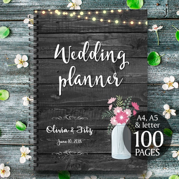 Printable wedding planner on black wood with mason jar with personalised cover page /100 printable pages / wedding kit, organiser, checklist