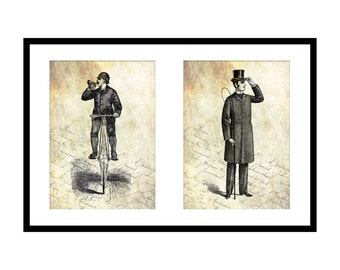 5x7 Seek Adventure Prints: Father's Day Gift Idea - Lion Tamer - Bicycle - Printable Victorian Wall Art - Download - Gentleman - Mens Gift
