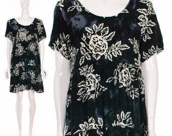 90's Batik BABY DOLL HAWAIIAN Dress Rose Print Dress Tie Dye Dress Batik Dress 90's Grunge Dress Drew Barrymore Dress Small Medium