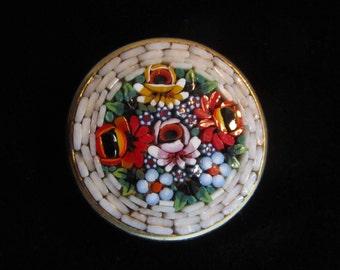 Vintage Italian Micro Mosaic Floral Brooch