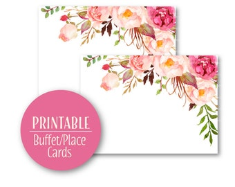 Elegant Floral Place Cards   Watercolour Place cards    Printable   Buffet Cards  9006
