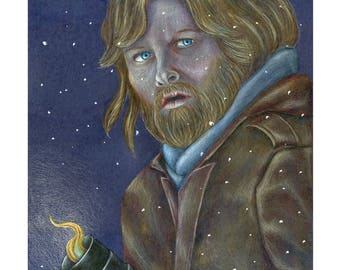 Kurt Russell in The Thing, Drawing, Movie Art, Poster