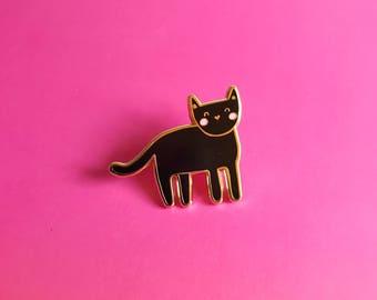 Black Cat Enamel Lapel Pin | cute kitten pin hat badge