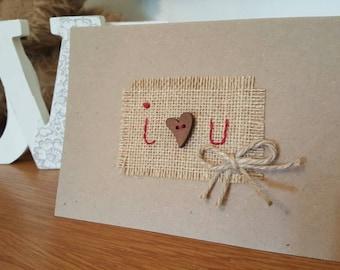 Handmade burlap card