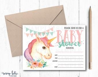 Watercolor Unicorn Baby Shower Invitation, Baby Unicorn Printable Invite, Instant Download