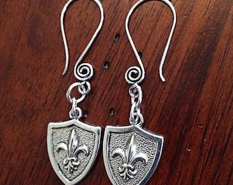 Earrings, Fleur De Lis, Fleur De Lis Earrings, Mardi Gras Earrings, Renaissance Earrings, Saints Earrings, Western Earrings, Dangle