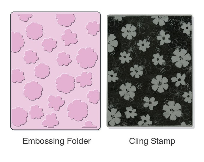 Sizzix Textured Impressions Embossing Folder w/ Hero Arts Stamp - Mixed Flowers Set (657771)