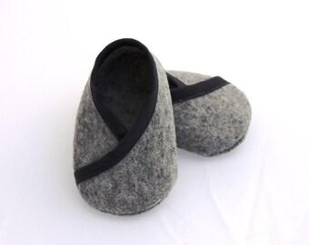 BABY FELT SHOES Boy and Girl - Newborn also available - Grey 100% Wool Felt Kimono style