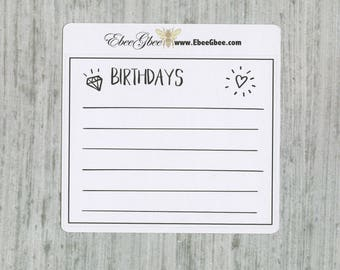 BIRTHDAY set of 3 Hand Drawn Large Box Note Page Planner Stickers