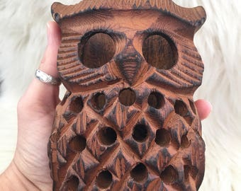 Vintage Carved Wood Owl candle holder / incense burner
