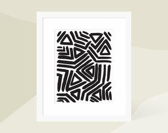 Minimalist Abstract Art Print Black / Minimalist Modern Painting / Large Vertical Wall Art / 5x7 8x10 11x14 16x20 18x24 / Matted and Framed