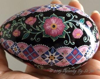 Made To Order Rosy Pink Floral Pysanka Ukrainian Easter Egg Pysanky by SoJeo Batik Art