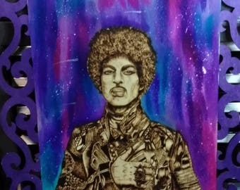 Prince woodburned piece