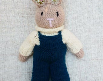 Cream Jumper with Green Dungarees