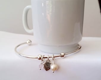 Sterling Silver Heart and Freshwater Pearl Cuff Bracelet