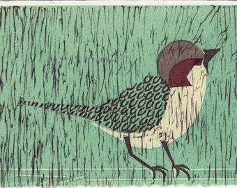 HOUSE SPARROW loose reproduction block print