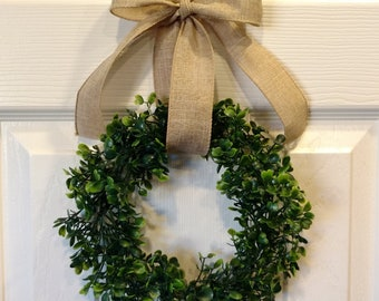 "8"" Small Faux Boxwood Wreath, Farmhouse Wreath (wreath only, accessories not included)"