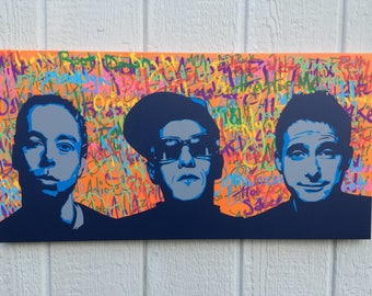 Beastie Boys on Lyrics / Shades of Blue and Grey / 15x30 inches / Spraypaint and Paint Pens on Canvas