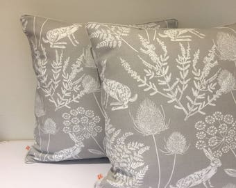 Piped Square cushion/pillow - Woodland Scene - Grey and White