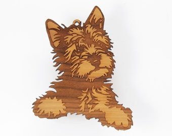 "West Highland Terrier / Westie Ornament from Timber Green Woods. Made in the U.S.A! - Cherry Wood (ornament ""Westie 'A'"") - Personalize it!"