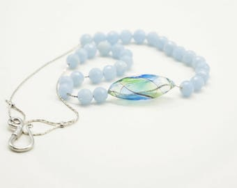 necklace, simple necklace, light blue necklace, rodhochrosite paste,  light blue beads, glass bead, blown glass bead, cobra chain, silver