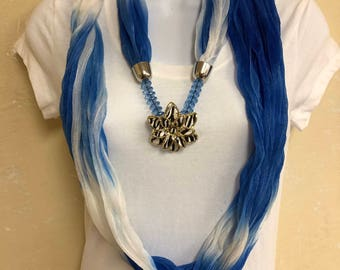 Light Weight Blue and White Infinity Scarf