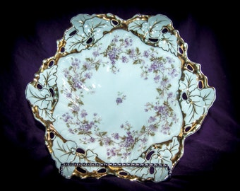 Ornate Reticulated Carl Tielsch Molded Serving Bowl (Alwasser, Germany) 1847-1890