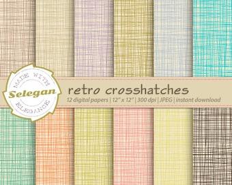 Retro Crosshatches, Digital Paper, Scrapbooking, Paper, 12x12, Printable, Pattern, Crosshatch, Texture, Retro, linen Background