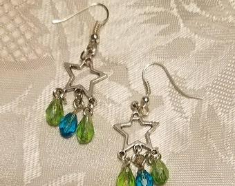 Star earrings with green and blue raindrop beads