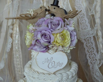 Burlap bird wedding cake topper-rustic burlap birds-rustic wedding-burlap birds-burlap birds in nest-rustic wedding cake topper