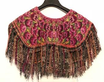 Vintage shawl, poncho, sarape, Guatemalan huipil, mayan clothing, fringe shawl,embroidery cape