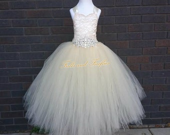Champagne Flower Girl Dress / Bridesmaid Corset Dress / Wedding Dress / Prom Dress / Formal Dress / Princess Dress / Girls Dresses / Wedding