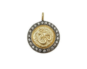 Coin Pendant with OM Stamped Accent - Round Gold Toned Brass with CZ Pave Pendant and Black Plated Edge BIC (S68B18-05)